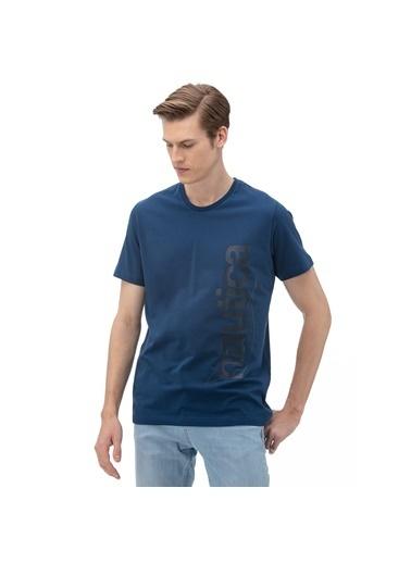 Nautica Nautica V01911T.4ES Pamuklu Bisiklet Yaka Yazı Baskılı Standart FIT Erkek Tişört Mavi